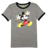 DISNEY Women's Mickey Mouse Layered Rainbow Shirt Medium Gray Black