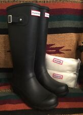 HUNTER Black Rubber Tall Equestrian Barn RAIN Boots w/ Liners 8M England UK NEW!
