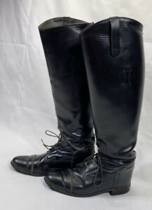 Women's Riding Boots Size 7 Black Leather Made In USA Equestrian Horse Over Knee