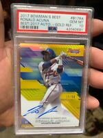 ~CLEAN FULL AUTO GOLD REFRACTOR PSA 10 RONALD ACUNA 2017 BOWMAN BEST /50 RC RARE