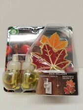 Air Wick Scented Oil Plug-In Apple Cinnamon Decor Warmer + 2 Refills Fall Leaves