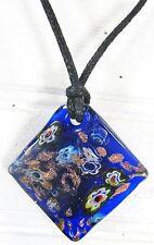 Pendant Necklace Blue Flower diagonal square Shape Acrylic