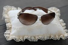NEW SUNGLASSES UV400 PROTECTION BROWN WITH DIAMANTE /& SILVER DECORATION TY3308