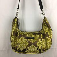 PETUNIA PICKLE BOTTOM Brown and Chartreuse Floral Print Medium Diaper Bag