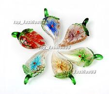 FREE Wholesale Pretty 6pcs Leaf Flower Lampwork Glass Pendants DIY Necklace