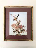 "Framed Art,Embroidered ColorStraw Appliqué On Silk,Bird Series 9.75""x11.75""x 75"""