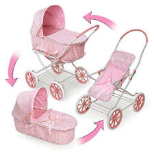 English Style 3-in-1 Doll Pram, Carrier, & Stroller for 24 inch Dolls Pink Roseb