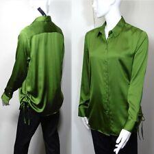 M&S SATIN Long Sleeve SHIRT / BLOUSE ~ Size 14 ~ KHAKI