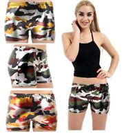 WOMEN'S ARMY METALLIC WET LOOK HOT PANTS SHINY SHORTS SIZE 8-14 PARTY DISCO HQ