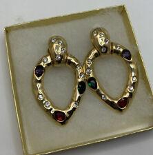 Scaasi Designer Glass Rhinestone Big Runway Gold Tone Clip Earrings Door Knocker