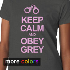 50 Fifty Shades of Grey Womens T-shirt KEEP CALM AND OBEY GREY Laters Baby Tee
