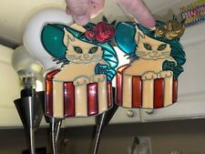 Matching Set Of 2 Vintage Stained Glass Suncatcher Window Cat With Hat Ornaments