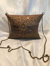 Collectible Vintage Handmade Folk Art Metal Copper Floral Design Purse