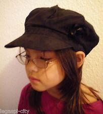 Designer-Mütze/Kappe für Mädchen in Velourlederoptik von Romano Italy schwarz