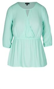 City Chic BNWT 3/4 sleeve mint green cross over top Plus Size L RRP$79.95