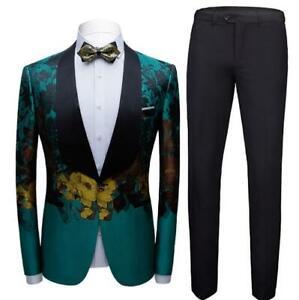 Men 2PCS One Button Slim Fit Printed Floral Casual Business Blazer Coats Pants