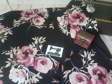 50cm Large Scale Pink Floral Black double brushed poly lycra stretch knit fabric