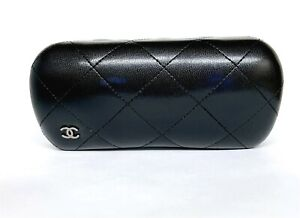 Chanel Sunglass Hard Case Clamshell Quilted Black Leather Large 6.5 x 3 x 2.25