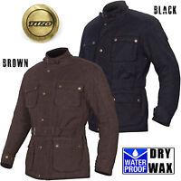 Tuzo Motorcycle Motorbike Dry Wax Cotton Jacket Traditional Vintage Black Brown