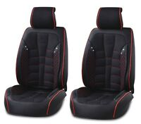 UNIVERSAL FRONT BLACK FABRIC & LEATHER SEAT COVERS CAR VAN MOTORHOME BUS MPV