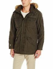 GUESS Parka Men's Winter Thick Quilted Hooded Military Parka Jacket XL Olive NWT