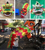 Chinese Lion Dance Costume suits for one children Wool Costume kids dress Folk