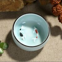 2pcs Tea cups Dehua celadon tea cup Chinese porcelain cup of tea fish carp 45ml