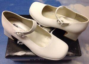 Rachel White Buckle Strap Platform Heel Mary Janes Youth Size 3 to 5 / Women 7
