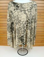 Peruvian Connection Long Sleeve Shirt Womens Size M/L Beige Brown Floral SOFT!