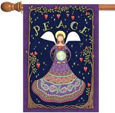 New Toland - Peace Angel - Purple Paisley Flower Heart Earth House Flag