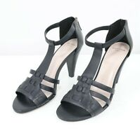 Cole Haan Grand.OS Sandals High Heels T-Strap Cady Womens 9.5B Black Leather