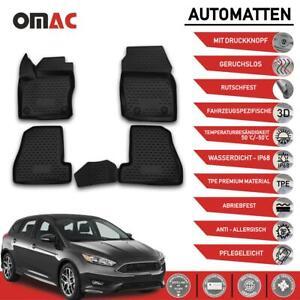 Fußmatten für Ford Focus II 2015-2021 3D Passform Hoher Rand Gummimatten Schwarz