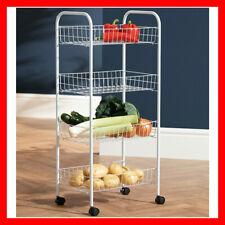 Kitchen Trolley Cart Slim Rolling 4 Tiers Storage Rack Handles Wheels Fruit Food