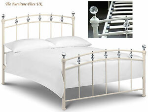 Sophie Metal Bed Frame In Cream With Crystal Finials Double 135cm 4ft 6