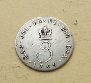 Scarce 1792 silver threepence