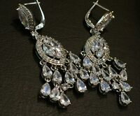 14k White Gold GF Chandelier Earrings made w Swarovski Crystal Marquise Stone