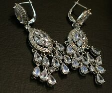 14k White Gold Chandelier Earrings made w Swarovski Crystal Marquise Bling Stone