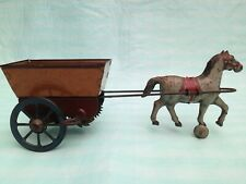 Marx Girard Toy Tin Lithograph Wind Up Horse and Cart 1930 s