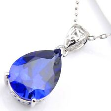 Water Drop Shaped Blue Topaz Sapphire Gemstone Platinum Plated Necklace Pendant