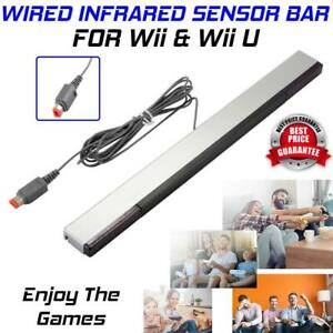 Sensor Bar For Nintendo Wii & Wii U With Stand Wired Infrared Receiver