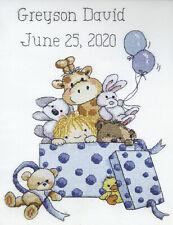 Stamped Cross Stitch Kit ~ Janlynn Toy Box Boy Birth Announcement #7018
