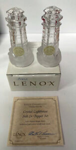 LENOX CRYSTAL LIFGHTHOUSE SALT AND PEPPER SET NEW IN BOX .