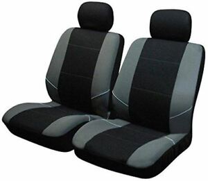 UKB4C Black/Grey Front Pair of Car Seat Covers for Honda Jazz All Years