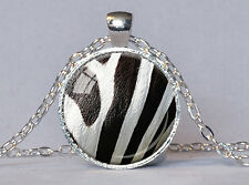 ZEBRA NECKLACE Zebra Pendant Black and White Animal Print Pendant