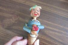 """Anri """"Drinking Man"""" Sailor Carved Wood Cork Bottle Stopper"""