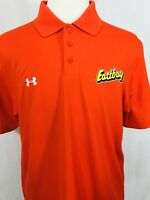 Under Armour Mens Polo Shirt LARGE Orange Loose Fit HeatGear EastBay Chest Logo