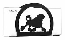 Swen Products Lowchen Dog Black Metal Letter Napkin Card Holder
