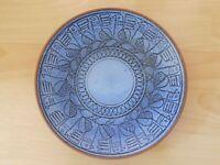 Keramik Teller Wandteller Blau glasiert Vögel D: 22 cm