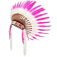 Indian Headdress Chief Feathers Bonnet Native American Hat PINK HEN PARTY