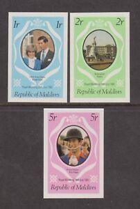 1981 Royal Wedding Charles & Diana MNH Stamp Set Maldives Imperf SG 918-920 Pink